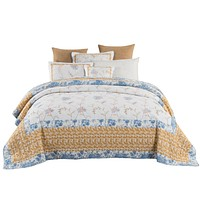 Tache Cotton Floral Patchwork Embroidered Winter Frost Bedspread Quilt Set (JHW-668)