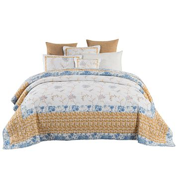 Tache 2-3 Piece Cotton Floral Patchwork Embroidered Winter Frost Bedspread Quilt Set (JHW-668)