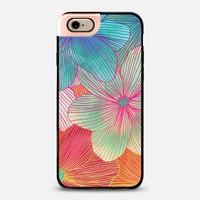 Between the Lines - tropical flowers in pink, orange, blue & mint iPhone 6 case by Micklyn Le Feuvre | Casetify