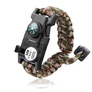 Outdoor Multifunctional Paracord Survival Bracelet Outdoor Camping Compass SOS LED Light Whistle Rescue Rope Bracelet EDC Tool