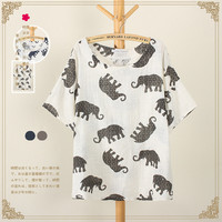 Women's Elephant Print Summer Loose T Shirt - Grey