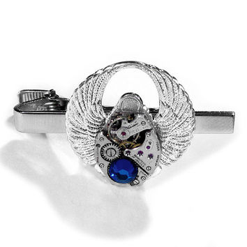 Steampunk Tie Bar Vintage Silver Mens Alligator Clip Phoenix Rising SCARAB WINGS Blue Crystal ORIGINAL - Steampunk Jewelry by edmdesigns