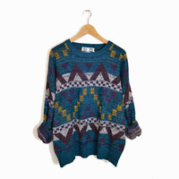Vintage Geometric Triangle Sweater in Flecked Blue and Purple - m/l