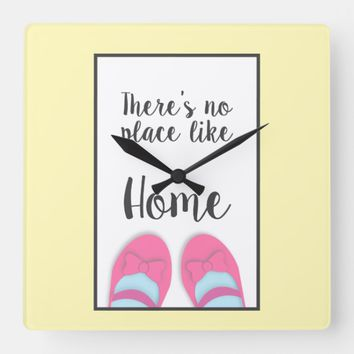 There's no place like home house warming gift square wall clock | Zazzle.co.uk