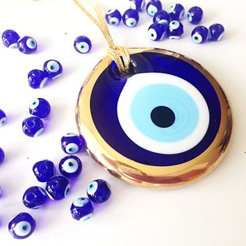 gold evil eye bead - 10cm - evil eye wall hanging - evil eye charm - large evil eye - turkish evil eye - nazar boncuk - evil eye decor