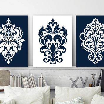 Navy White Bedroom Wall Decor, DAMASK Wall Art, CANVAS or Print Navy White Bathroom Wall Decor, Navy White Home Decor, Set of 3, Damask Art
