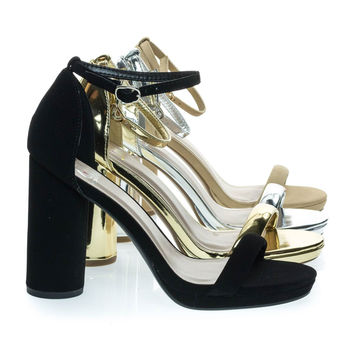 Eking Black By Delicious, Chunky Rounded Block Heel Sandal w Platform