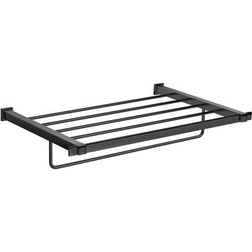 "Black Wall 21.3"" Towel Rack Bath Storage Shelf With Towel Bar Rail, Solid Brass"