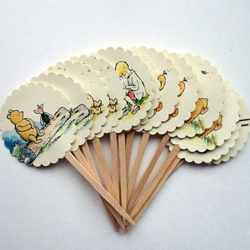 Winnie the Pooh Cupcake Picks - Cupcake Toppers - Baby Shower - Birthday Party
