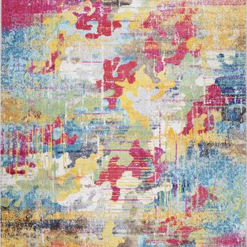 Lounge Contemporary Living Room Rug | Non Slip Blue Pink Large Area Rug