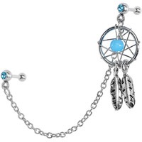 Aqua CZ Dreamcatcher Cartilage Tragus Barbell Earring Chain | Body Candy Body Jewelry