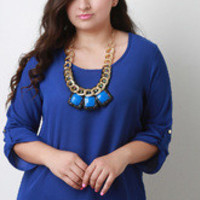 Women's Royal Blue Chiffon Necklace Top in Plus Sizes