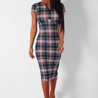 Lomond Blue Tartan Check Bodycon Midi Dress | Pink Boutique