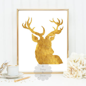 Deer gold foil sparkle quote print art poster decor wall decor home wall art sign decor printable art print nursery print wall art decor art