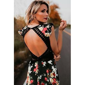 Elegant Floral Print Lace Maxi Dress