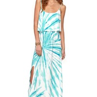 LA Hearts Ruffle Top Maxi Dress - Womens Dress - Blue -