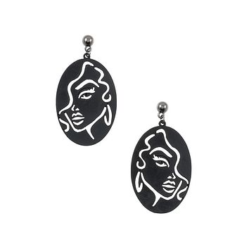 Outline woman face oval earring