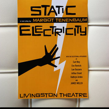 "The poster of Margot Tenenbaum's last play ""Static Electricity"", inspired by Wes Anderson's the Royal Tenenbaums  [Great Birthday Gift!]"