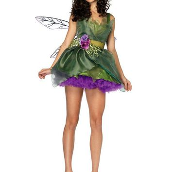 MOONIGHT 3 Pcs Woodland Green Gorgeous Fairy Princess Tinkerbell Dress Halloween Party Costume Medieval Costume Renaissance