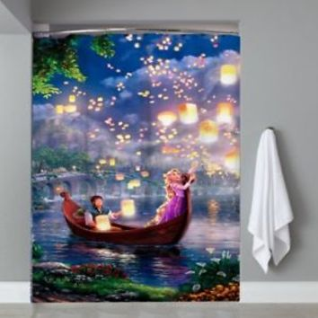 Top Famous Tangled Disney Movie Lantern Shower Curtain Limited Edition