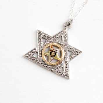 Antique Art Deco Masonic Eastern Star Necklace- Vintage 1920s 1930s Sterling Silver Marcasite Enamel Pendant Jewelry