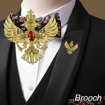 WR Double-headed Eagle Gold Brooch Badge European Eagle Pin Badge Birthday Gifts Clothing Ornaments Decoration