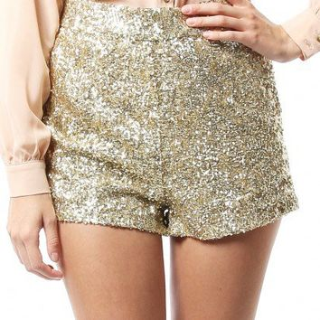 NADINE SEQUIN SHORTS - GOLD - WOMEN'S