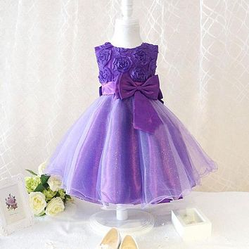 Flower Girl Princess Bow Dress Toddler Wedding Party Pageant Tulle Dresses
