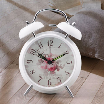 Vintage alarm clock with floral pattern background bedside desk table clock for kids children schoolboys girls office worker