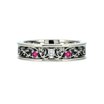 Pink spinel and diamond filigree ring, white gold, filigree engagement, pink wedding ring, spinel ring, vintage style, unique, gold ring