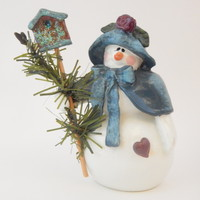 Snowman Figurine Enesco Collectible 1997 Donna Little Ceramic Snow Woman Girl Christmas Decor