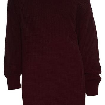 Womens Ladies Off The Shoulder Chunky Knit Oversized Tunic Sweater Jumper Dress Plus Size (US 18/20)Wine