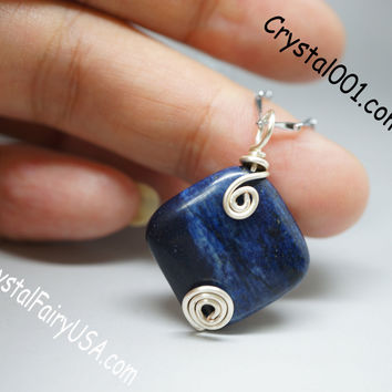 Simple Wire Wrapped Lapis Necklace Third Eye Chakra Healing Pendant