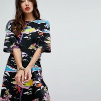 Love Moschino Abstract Surfing Printed T-Shirt Dress at asos.com