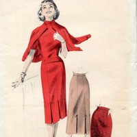 50s Vintage Tailored Skirt Pattern with  6 kick pleats W 28 H 37
