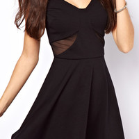 ROMWE Mesh Panel V-neck Backless Black Dress
