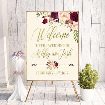 Welcome Wedding Sign Printable Wedding Welcome Sign Floral Wedding Sign Burgundy Gold Wedding - Bridal Shower Welcome Sign Personalized Sign