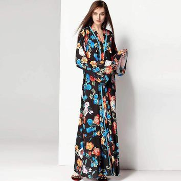 Women Dresses Long Floral Plus Size Winter Robe Prom Evening Party Club Womens Maxi Runway Dress