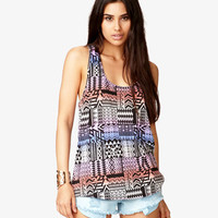High-Low Tribal Print Tank