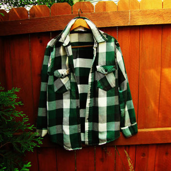 vintage soft green buffalo plaid flannel grunge oversized hipster shirt. green flannel lumberjack hipster plaid.