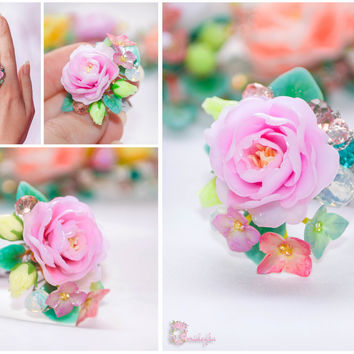 Custom order Peony ring Rose flower ring Pink flower ring Pink rose ring Blue forget me not Pink blue hydrangea flower Polymer clay ring