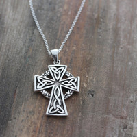 Celtic cross mens necklace, sterling silver mens irish jewelry, men jewelry, mens Celtic Cross . Unisex jewelry. 169