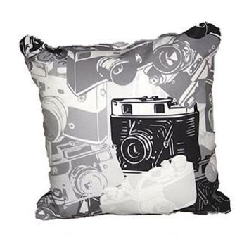 GRAPHIC CAMERA THROW PILLOW Grey Black Camera - PRPL003