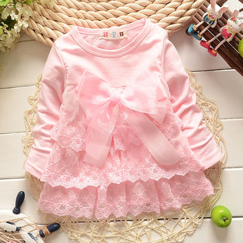 lace flower Bow cute baby Party Wedding Birthday girls dresses, princess infant Spring Autumn Long Sleeve Dress S0144