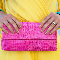 Lovely Day Croc Clutch - available in Pink & Black