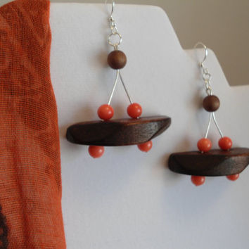 Coral Wood made of Coral and wood beads that are unique and stunning, Boho earrings, Coral earrings,  Wood earrings