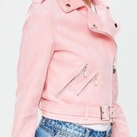 Missguided - Pink Biker Jacket