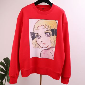 GUCCI Tide brand cartoon printing embroidery sequins loose women's pullover sweater red