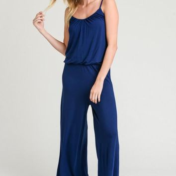 Spaghetti Strap Jumpsuit with Elastic Waistband