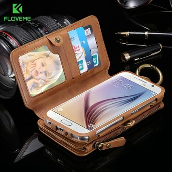 FLOVEME Business Wallet Phone Cases For Samsung Galaxy Note 4 3 Case Metal Zipper Leather Coque For Samsung S7 S8 Plus S6 Cover